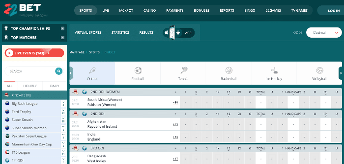 22bet cricket betting