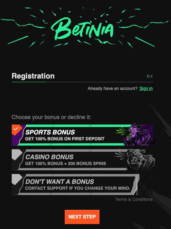betinia registration