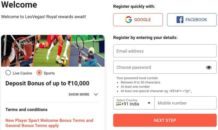 LeoVegas India Registration